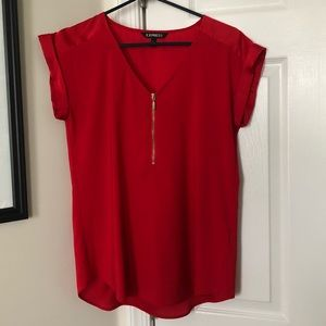 Red and gold zip up top from Express.